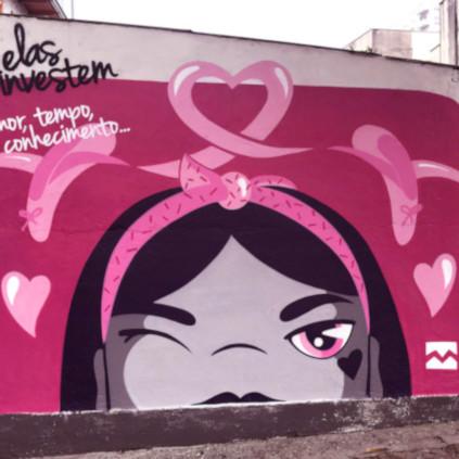 Muro grafitado em Joinville - Homenageada: Karina