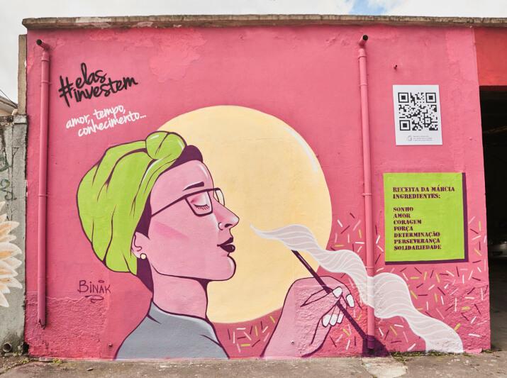 Muro grafitado em Cambuci - Homenageada: Marcia Monteiro